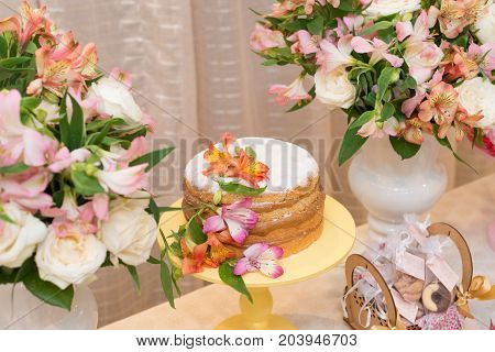 Horizontal picture of delicious cake made with milk candy for woman party