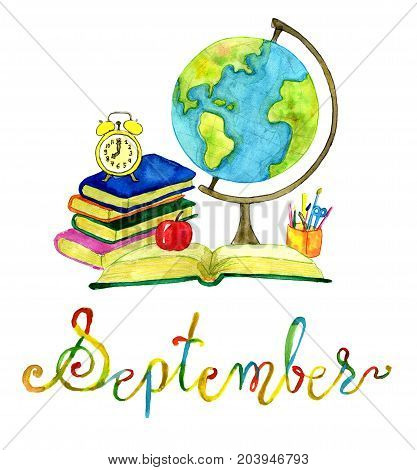September month. Book, apple and globe. Watercolor isolated illustration for calendar design page. Concept of twelve months symbols and hand writing lettering