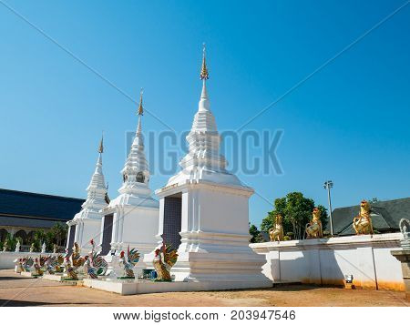 Beautiful temple with blue sky in Chiangmai, Thailand.Public place for worship