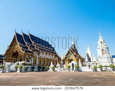 Beautiful temple with blue sky in Chiangmai,Thailand.Public place for worship