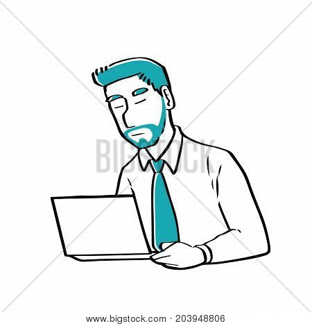 A businessman using a laptop technology and business concept.