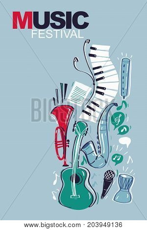 Music instruments background for banner or other uses. Vector illustration.