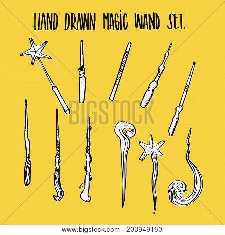Hand drawn magic wand collection set illustration vector.