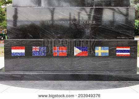 New York USA - 28 September 2016: Close up of the mosaic flags on The Universal Soldier monument a memorial to those who fought in the Korean war by sculptor Mac Adams. Located in Battery Park Lower Manhattan.
