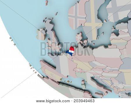 Netherlands With Flag Illustration