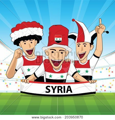syria Flag. Cheer football support Vector illustration.