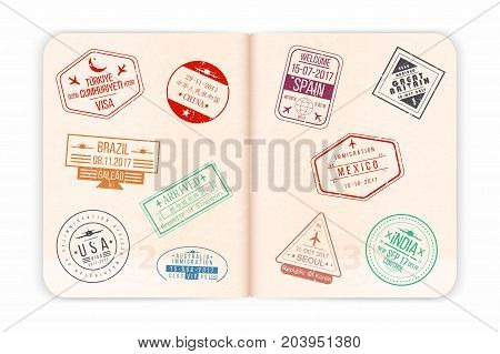 Vector Passport With Visa Stamps. Open Passport Pages With Airport Visa Stamps And Watermarks