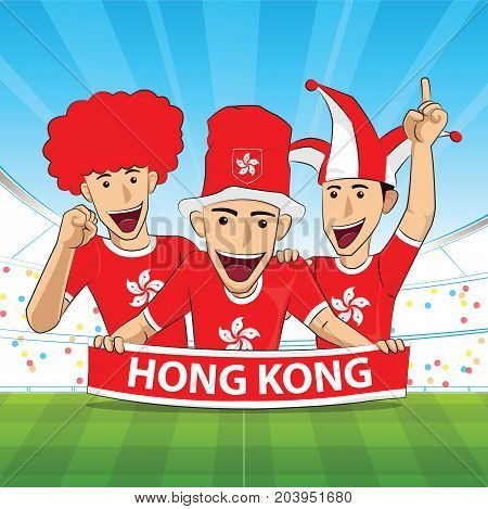 hong kong Flag. Cheer football support Vector illustration.