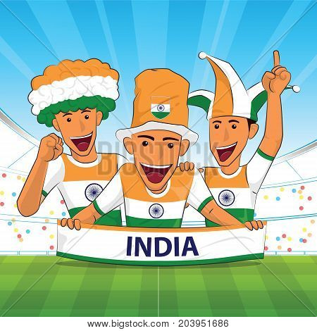 India Flag. Cheer football support Vector illustration.