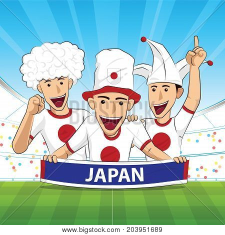 japan Flag. Cheer football support Vector illustration.