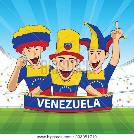 venezuela Flag. Cheer football support Vector illustration.