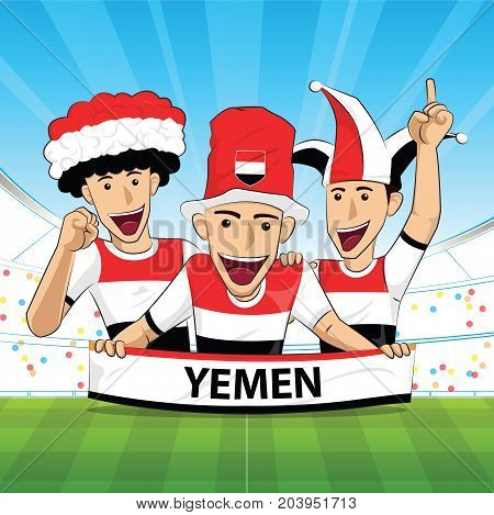yemen Flag. Cheer football support Vector illustration.