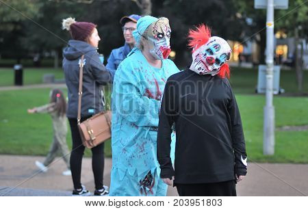 Mature Preson With Killer Clown Dress Int The Square Before Galway Zombie Walk Event Start ,eire Squ