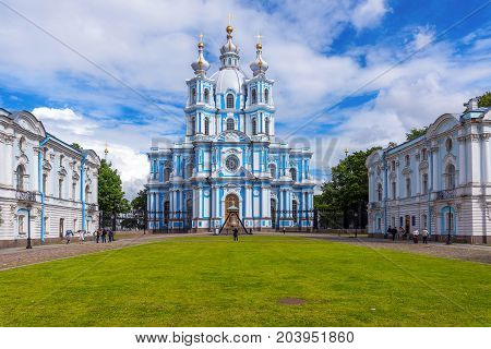 ST.PETERSBURG/RUSSIA - JULY 20, 2017. Smolny Resurrection of Christ Cathedral or just the Smolny Cathedral is part of the architectural ensemble of the Smolny Monastery