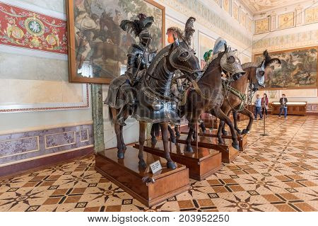 SY.PETERSBURG/RUSSIA - JULY 21, 2017. Exhibits in the knight hall of the State Hermitage of St. Petersburg