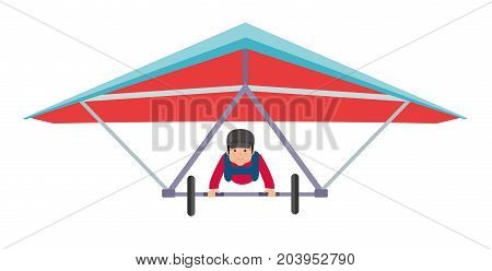 Young Man on a hang glider. Extreme sports. Illustration on white background. Flat design vector illustration.