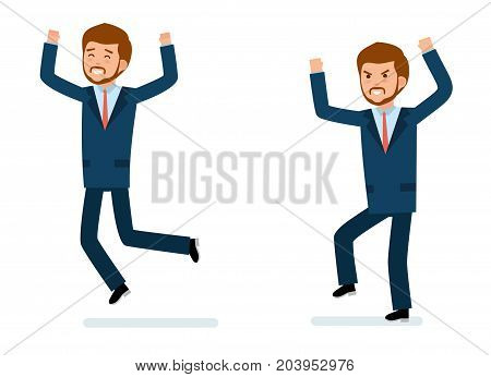 Ready to use character creation set. Businessman happy, businessman in anger. Isolated white background. Business, office work, workplace. Flat design vector illustration.