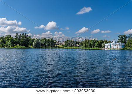 ST.PETERSBURG/RUSSIA - JULY 26, 2017. The Grotto Pavilion on the northern shore of the Great Pond in the Catherine Park in Tsarskoye Selo near St. Petersburg