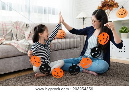 Beautiful Mom And Cute Girl Happy To Working Together