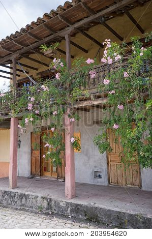 March 12 2017 Vilcabamba Ecuador: traditional colonial architecture is well represented in the popular tourist destination indigenous town in the Andes