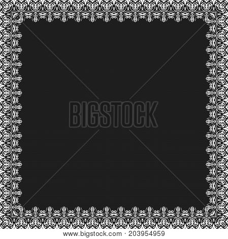 Classic square white frame with arabesques and orient elements. Abstract ornament with place for text. Vintage pattern
