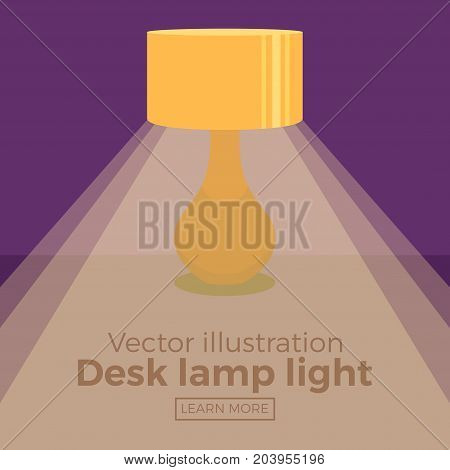 Colorful bedside lamp light icon for your design. Flat cartoon lamp light isolated.The flow of light