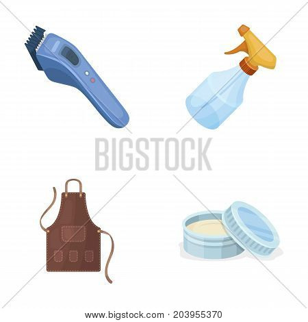 Electric clipper, apron, cream and other accessories for a male hairdresser.Barbershop set collection icons in cartoon style vector symbol stock illustration .