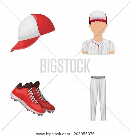 Baseball cap, player and other accessories. Baseball set collection icons in cartoon style vector symbol stock illustration .