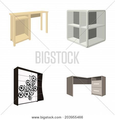 Dressing table, corner shelves, computer desk, wardrobe with glass. Bedroom furniture set collection icons in cartoon style vector symbol stock illustration .