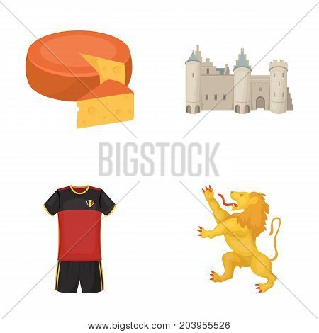 Cheese, lion and other symbols of the country.Belgium set collection icons in cartoon style vector symbol stock illustration .