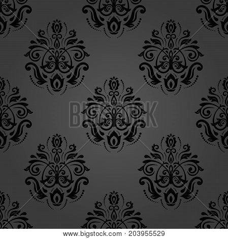 Oriental dark classic pattern. Seamless abstract background with repeating elements. Orient background