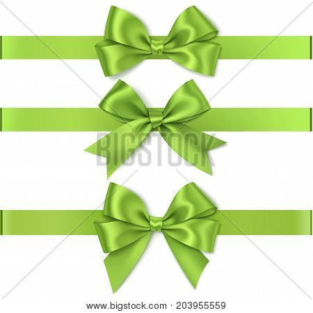 Christmas decorations. Vector green bow with ribbon