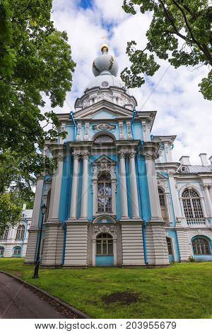 SY.PETERSBURG/RUSSIA - JULY 20, 2017. Smolny Resurrection of Christ Cathedral or just the Smolny Cathedral is part of the architectural ensemble of the Smolny Monastery