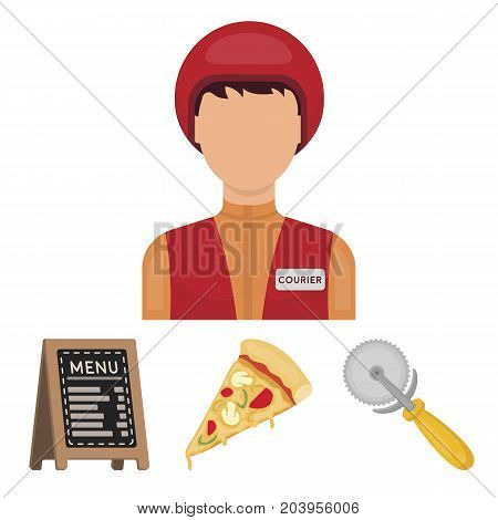 A pizza cutter, a slice, a menu in a pizzeria, a courier. Pizza and pizzeria set collection icons in cartoon style vector symbol stock illustration web.