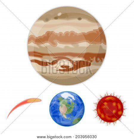 Earth, Jupiter, the Sun of the Planet of the Solar System. Asteroid, meteorite. Planets set collection icons in cartoon style vector symbol stock illustration .