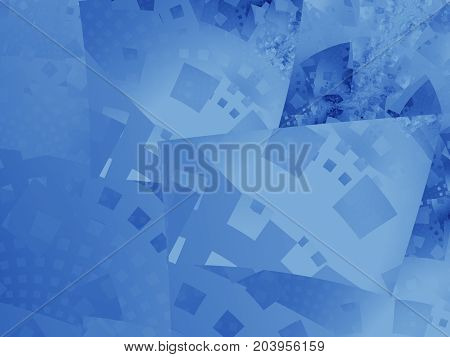 Calm blue abstract fractal art. Structured background illustration with distorted squares. Irregularly shaped objects in layers. Creative graphic template. Simple free style. For e.g. textile prints