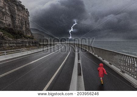Child On Sea Cliff Bridge, Grand Pacific Drive, Australia