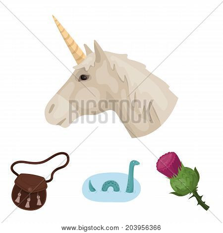 Loch Ness monster, thistle flower, unicorn, sporan. Scotland country set collection icons in cartoon style vector symbol stock illustration .