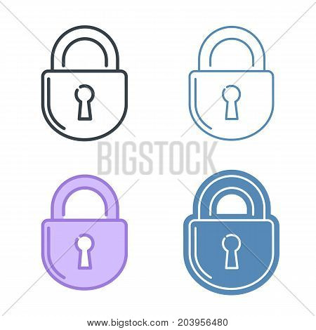The lock vector outline icon set. Data protection, information safety line symbols and pictograms. Vector thin contour infographic element. Concept illustration for web design, presentations, networks