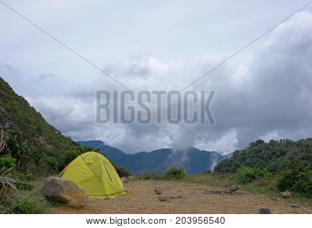 Touristic Yellow Tent On Camping Place In The Mountains. Sibayak Volcano, Berastagi, North Sumatra,