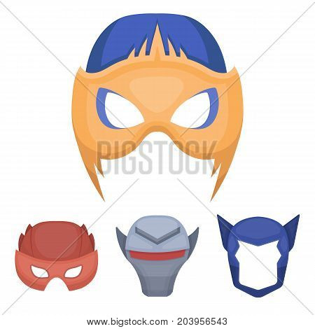 Helmet, mask on the head.Mask super hero set collection icons in cartoon style vector symbol stock illustration .