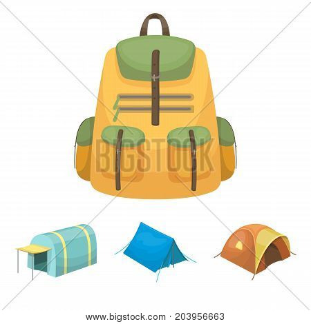 Backpack and other kinds of tents.Tent set collection icons in cartoon style vector symbol stock illustration .