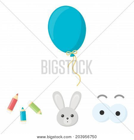 Rabbit with long ears, colored pencils for drawing, blue air balloon, eye toys with eyebrows. Toys set collection icons in cartoon style vector symbol stock illustration .