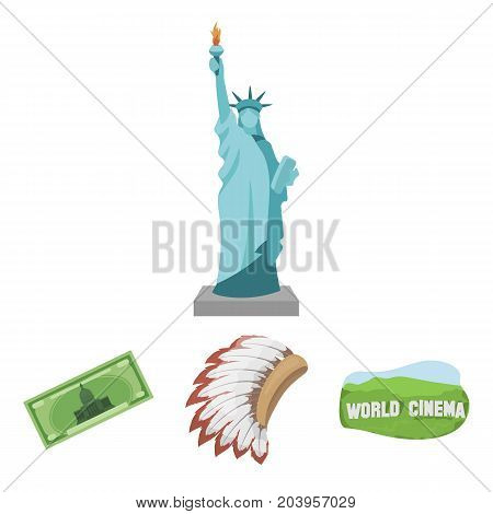 Mohavk, world cinema, dollar, a statue of liberty.USA country set collection icons in cartoon style vector symbol stock illustration .