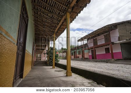 March 12 2017 Vilcabamba Ecuador: colonial architecture in the remote indigenous town known for longevity