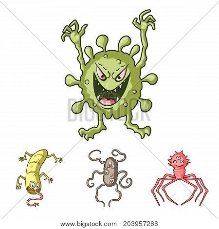 Different types of microbes and viruses. Viruses and bacteria set collection icons in cartoon style vector symbol stock illustration .