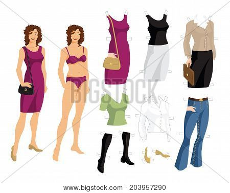 Paper doll with clothes for office and holiday. Body template. Young girl with curly hair in purple dress and shoes on flat heel