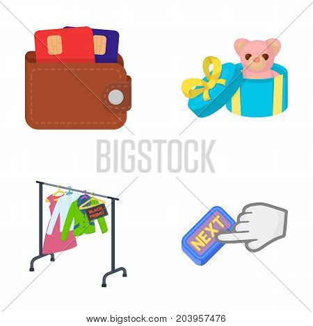Purse with credit cards and other  icon in cartoon style.gift sale of things, button more icons in set collection.