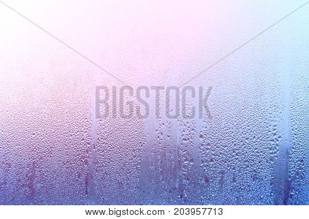 Natural Drop Of Water. Glass With Condensate, Strong, High Humidity In The Room, Large Drops Of Wate