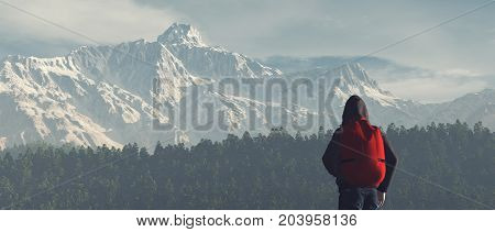 Young man up the mountain admire mountain scenery winter . This is a 3d render illustration
